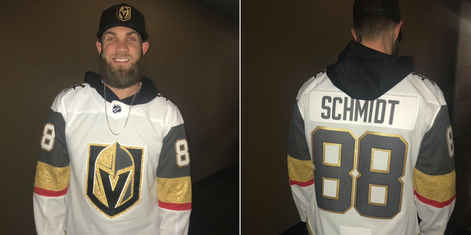 6f91c62a97bd4d Bryce Harper was at the Vegas Golden Knights game with Kris Bryant last  night. He wore a Nate Schmidt jersey.