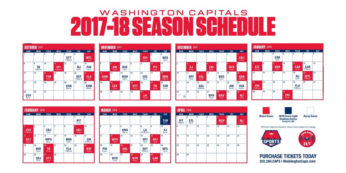 graphic about Washington Capitals Schedule Printable titled 2017-18 Program RMNB