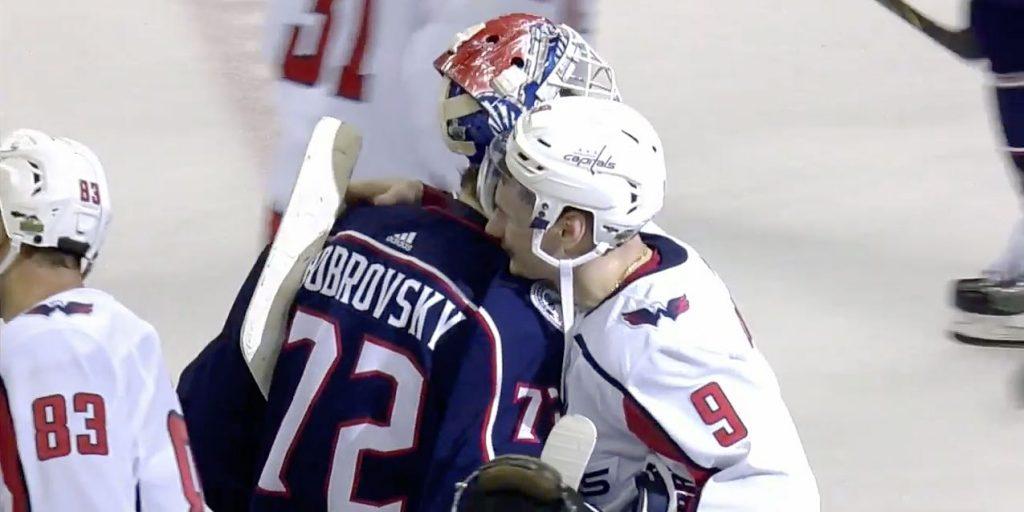 750ba8c7da648 Best friends Dmitry Orlov and Sergei Bobrovsky hug in handshake line