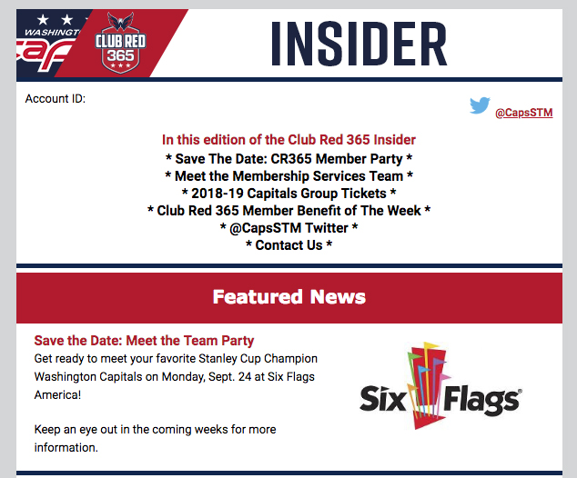 Capitals season-ticket holder party is returning to Six Flags in