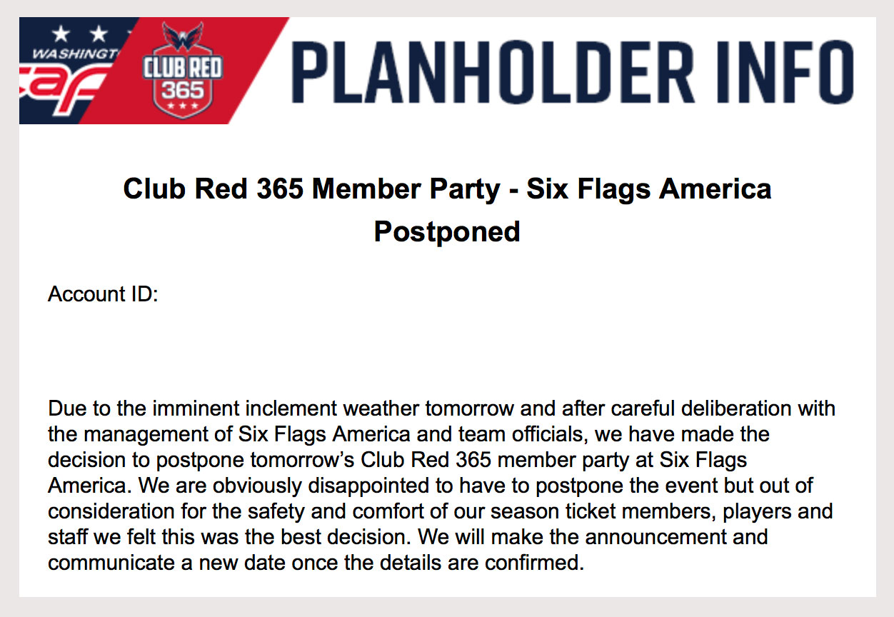 Capitals season-ticket holder party at Six Flags postponed due to
