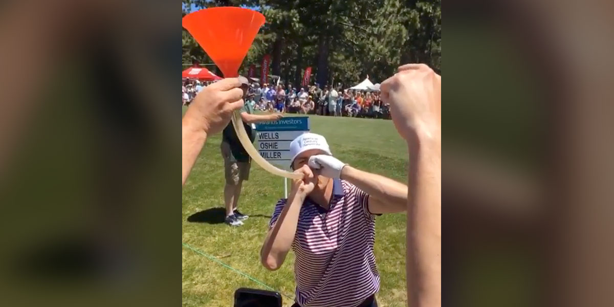 TJ Oshie does beer bong with fans at ACC Championship