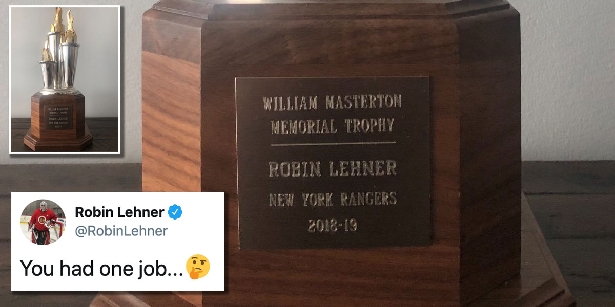 Robin Lehner receives Masterton Trophy with wrong team on engraving